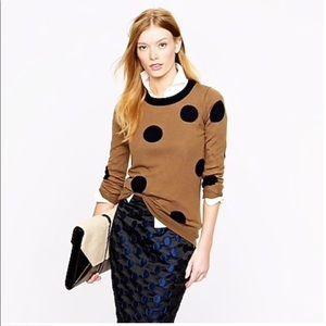NWT J. CREW large tan blue polka dot TIPPI sweater